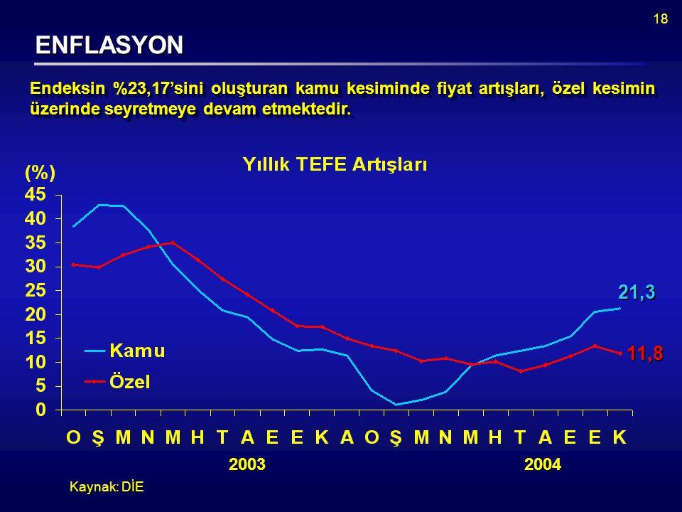 18 ENFLASYON Kaynak: DİE 2003 2004 21,3 11,8 Endeksin %23,17'sini oluşturan kamu kesiminde fiyat artışları, özel kesimin üzerinde seyretmeye devam etmektedir.