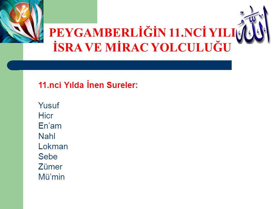 11.nci Yılda İnen Sureler: Yusuf Hicr En'am Nahl Lokman Sebe Zümer Mü'min PEYGAMBERLİĞİN 11.NCİ YILI İSRA VE MİRAC YOLCULUĞU