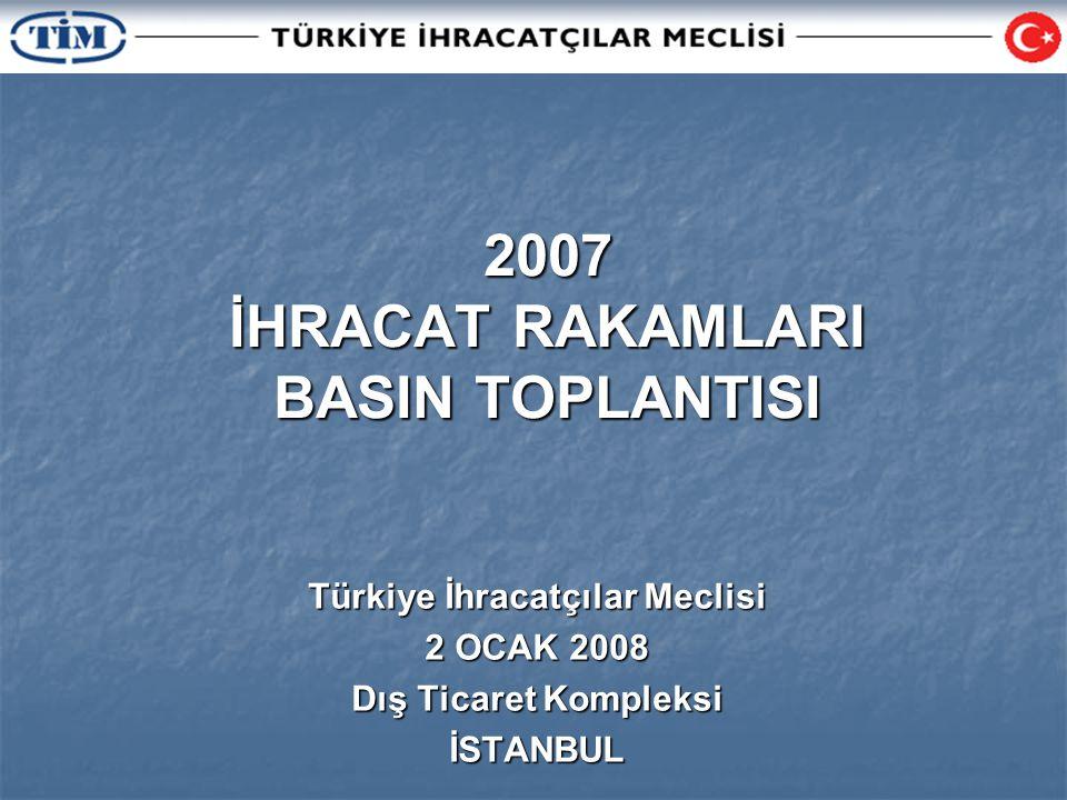 2007 İHRACAT RAKAMLARI BASIN TOPLANTISI Türkiye İhracatçılar Meclisi 2 OCAK 2008 Dış Ticaret Kompleksi İSTANBUL