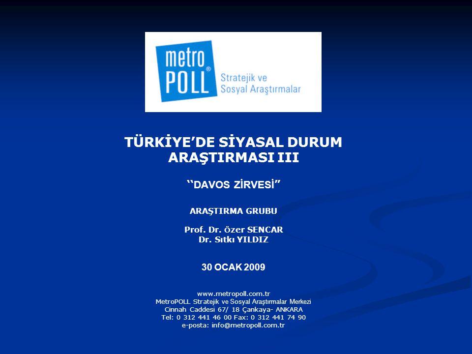 TÜRKİYE'DE SİYASAL DURUM ARAŞTIRMASI III '' DAVOS ZİRVESİ ARAŞTIRMA GRUBU Prof.