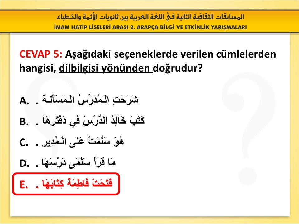 SORU 5: Aşağıdaki seçeneklerde verilen cümlelerden hangisi, dilbilgisi yönünden doğrudur.