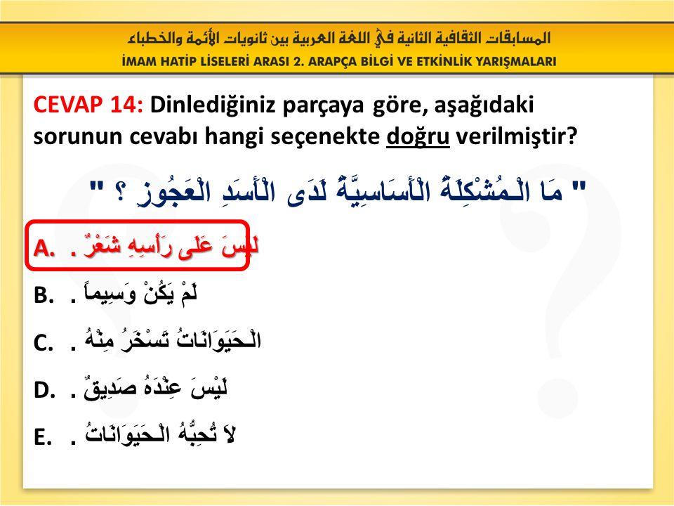 SORU 14: Dinlediğiniz parçaya göre, aşağıdaki sorunun cevabı hangi seçenekte doğru verilmiştir.