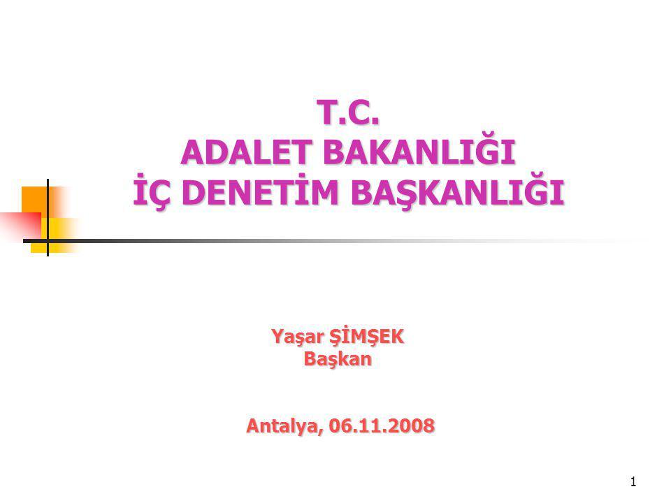 1 T.C. ADALET BAKANLIĞI İÇ DENETİM BAŞKANLIĞI Yaşar ŞİMŞEK Başkan Antalya, 06.11.2008 Antalya, 06.11.2008