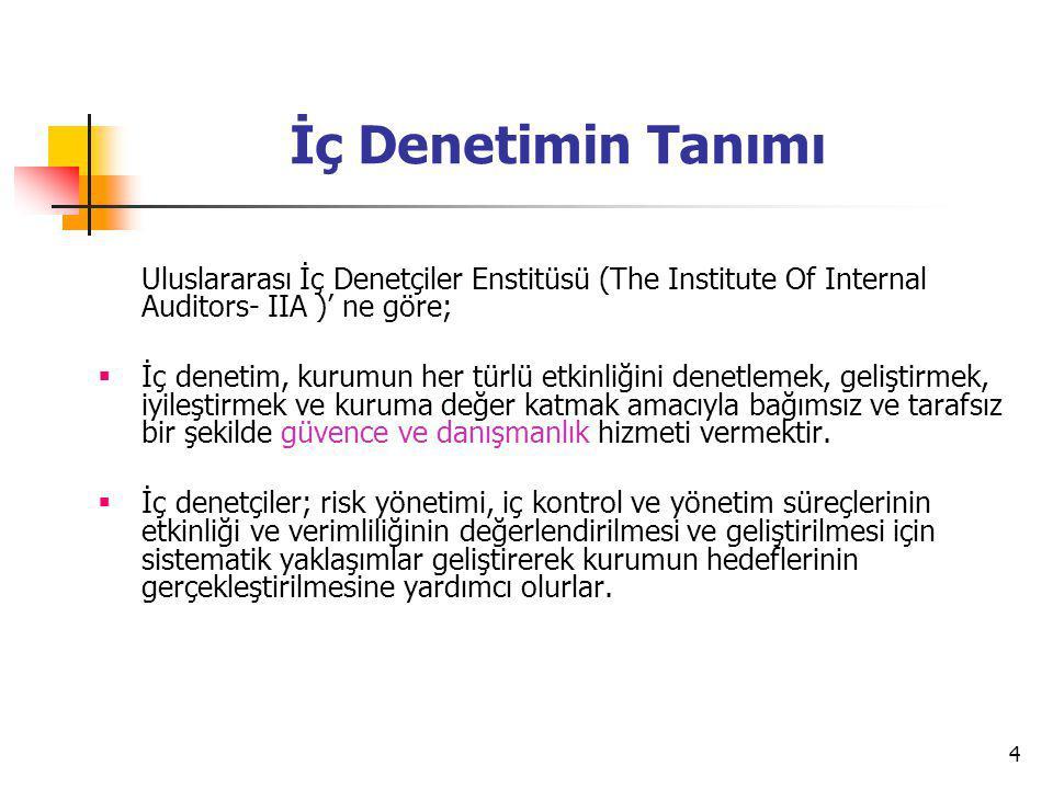 4 İç Denetimin Tanımı Uluslararası İç Denetçiler Enstitüsü (The Institute Of Internal Auditors- IIA )' ne göre;  İç denetim, kurumun her türlü etkinl