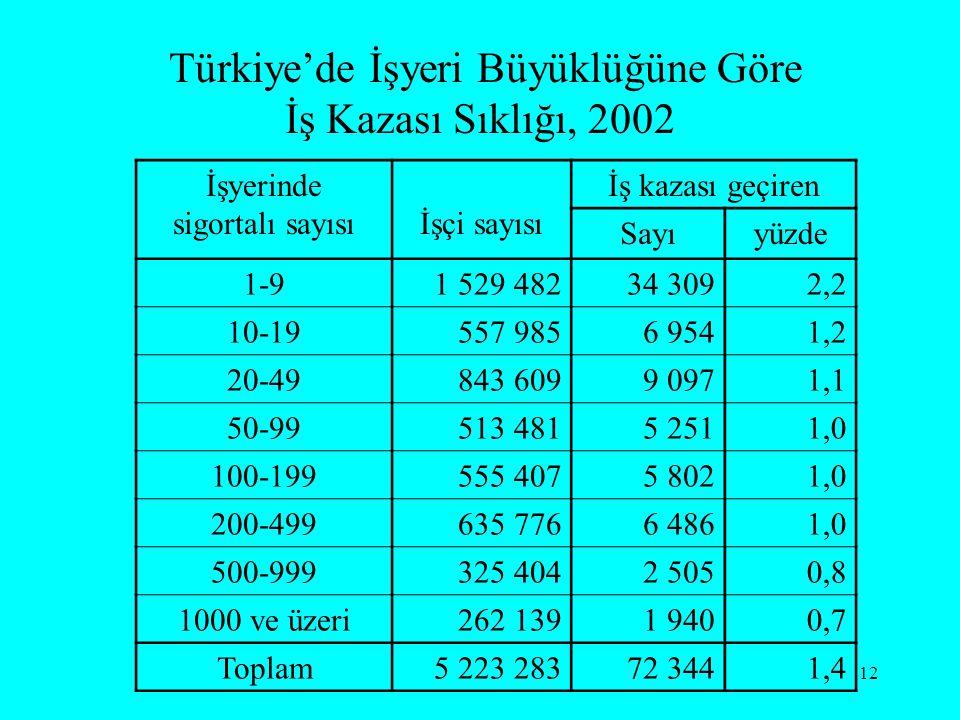 12 Türkiye'de İşyeri Büyüklüğüne Göre İş Kazası Sıklığı, 2002 İşyerinde sigortalı sayısıİşçi sayısı İş kazası geçiren Sayıyüzde 1-91 529 48234 3092,2