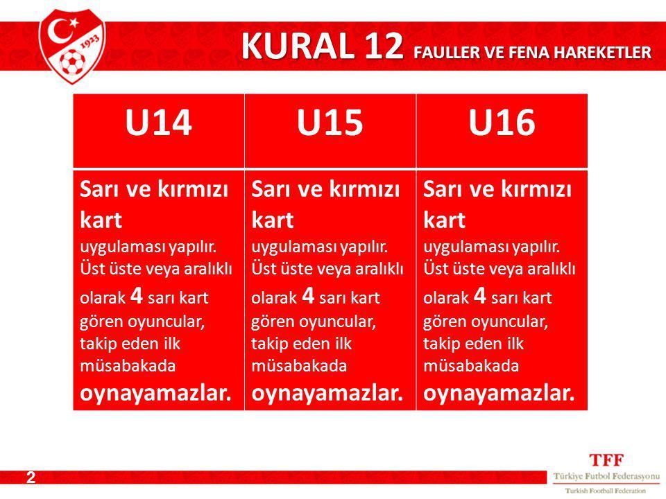 KURAL 12 FAULLER VE FENA HAREKETLER 2 U14U15U16 Sarı ve kırmızı kart uygulaması yapılır.