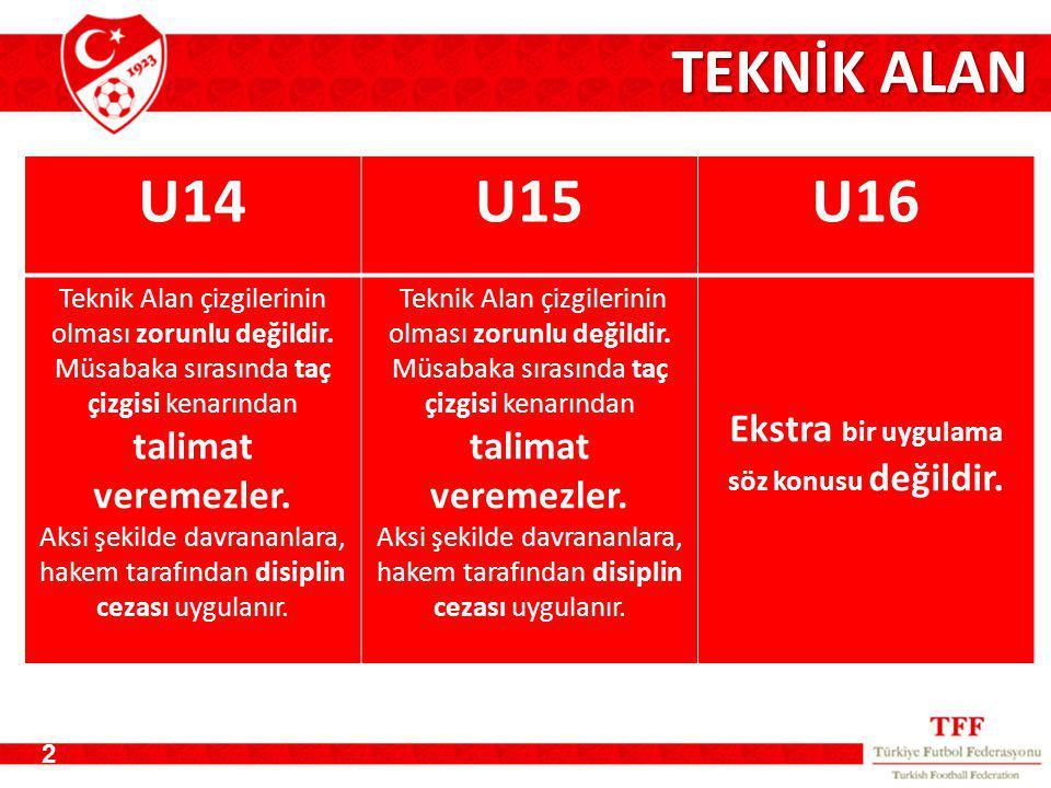 TEKNİK ALAN 2 U14U15U16 Teknik Alan çizgilerinin olması zorunlu değildir.