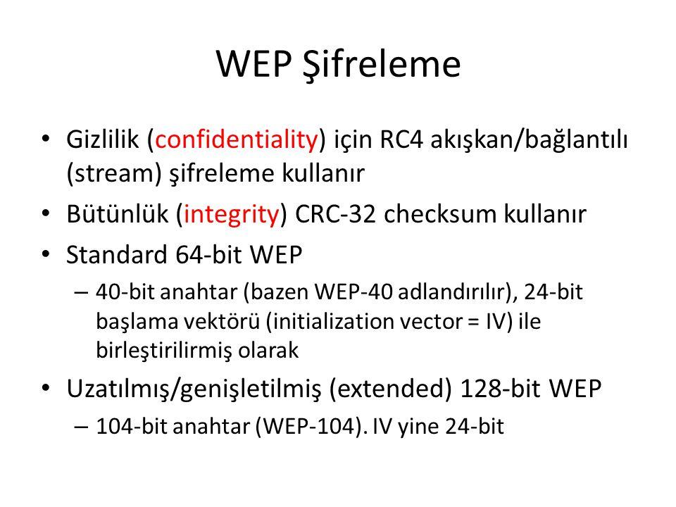 WEP Şifreleme Gizlilik (confidentiality) için RC4 akışkan/bağlantılı (stream) şifreleme kullanır Bütünlük (integrity) CRC-32 checksum kullanır Standard 64-bit WEP – 40-bit anahtar (bazen WEP-40 adlandırılır), 24-bit başlama vektörü (initialization vector = IV) ile birleştirilirmiş olarak Uzatılmış/genişletilmiş (extended) 128-bit WEP – 104-bit anahtar (WEP-104).