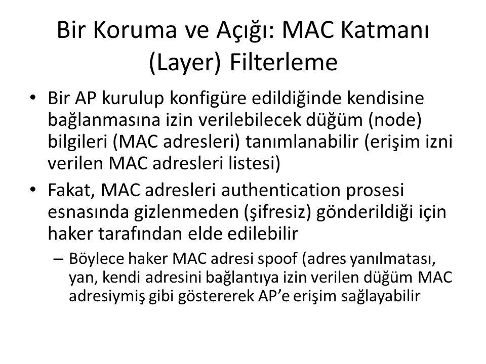 Bir Koruma ve Açığı: MAC Katmanı (Layer) Filterleme Bir AP kurulup konfigüre edildiğinde kendisine bağlanmasına izin verilebilecek düğüm (node) bilgileri (MAC adresleri) tanımlanabilir (erişim izni verilen MAC adresleri listesi) Fakat, MAC adresleri authentication prosesi esnasında gizlenmeden (şifresiz) gönderildiği için haker tarafından elde edilebilir – Böylece haker MAC adresi spoof (adres yanılmatası, yan, kendi adresini bağlantıya izin verilen düğüm MAC adresiymiş gibi göstererek AP'e erişim sağlayabilir