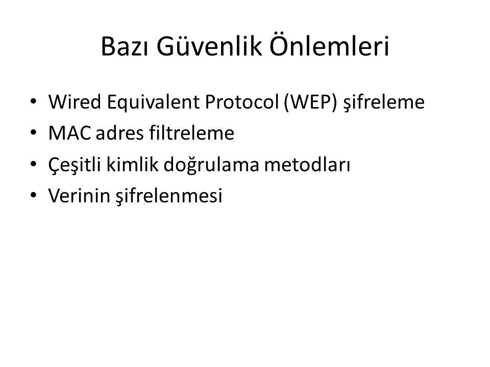 Bazı Güvenlik Önlemleri Wired Equivalent Protocol (WEP) şifreleme MAC adres filtreleme Çeşitli kimlik doğrulama metodları Verinin şifrelenmesi