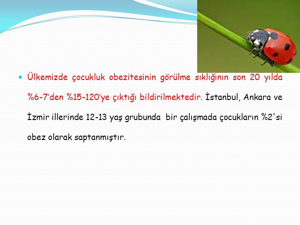 Ülkemizde çocukluk obezitesinin görülme sıklığının son 20 yılda %6-7'den %15-120'ye çıktığı bildirilmektedir. İstanbul, Ankara ve İzmir illerinde 12-1