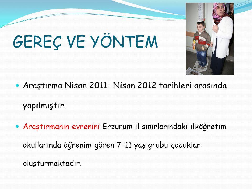 GEREÇ VE YÖNTEM Araştırma Nisan 2011- Nisan 2012 tarihleri arasında yapılmıştır. Araştırmanın evrenini Erzurum il sınırlarındaki ilköğretim okullarınd