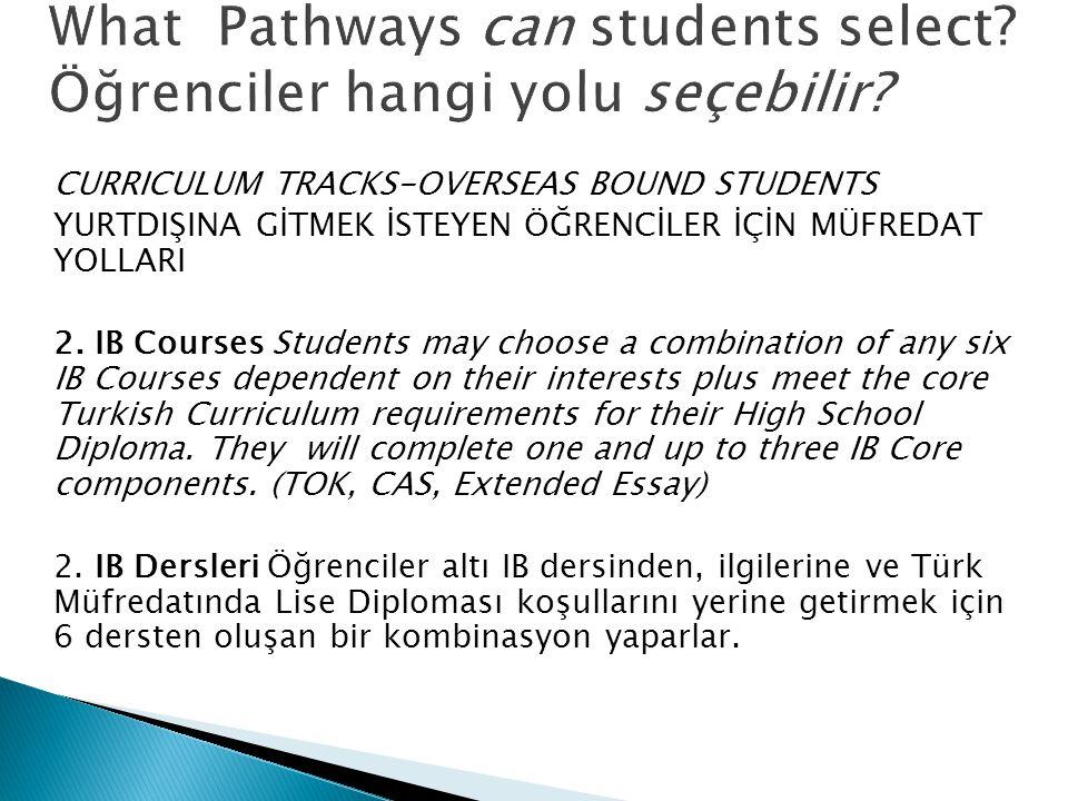 CURRICULUM TRACKS-OVERSEAS BOUND STUDENTS YURTDIŞINA GİTMEK İSTEYEN ÖĞRENCİLER İÇİN MÜFREDAT YOLLARI 2. IB Courses Students may choose a combination o