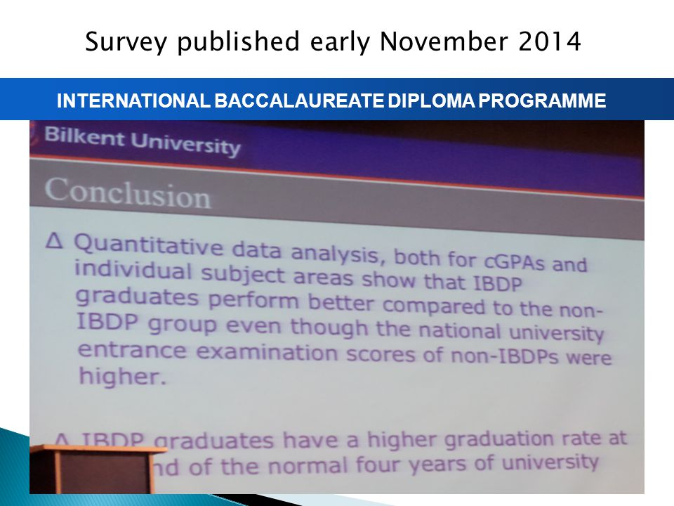 INTERNATIONAL BACCALAUREATE DIPLOMA PROGRAMME Survey published early November 2014