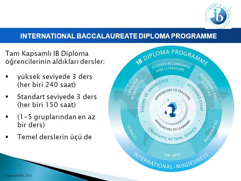 INTERNATIONAL BACCALAUREATE DIPLOMA PROGRAMME Tam Kapsamlı IB Diploma öğrencilerinin aldıkları dersler:  yüksek seviyede 3 ders (her biri 240 saat)  Standart seviyede 3 ders (her biri 150 saat)  (1-5 gruplarından en az bir ders)  Temel derslerin üçü de Copyright IBO 2013