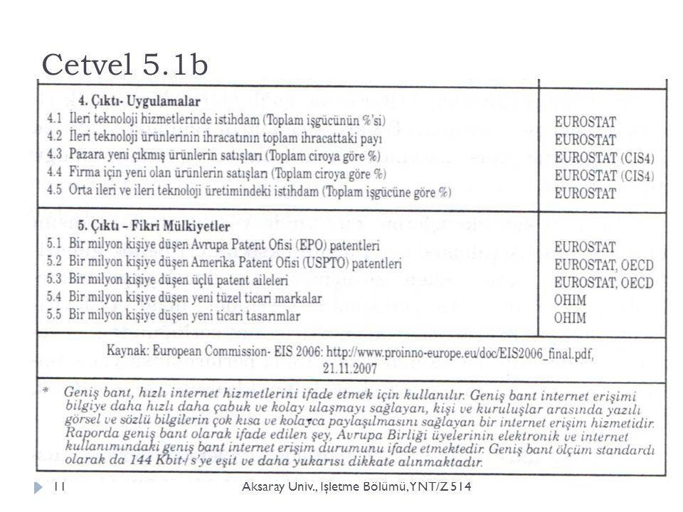 Cetvel 5.1b Aksaray Üniv., İ şletme Bölümü, YNT/Z 51411