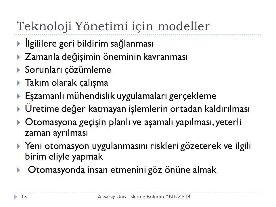 Teknoloji Yönetimi için modeller Aksaray Üniv., İ şletme Bölümü, YNT/Z 51415  İ lgililere geri bildirim sa ğ lanması  Zamanla de ğ işimin öneminin k