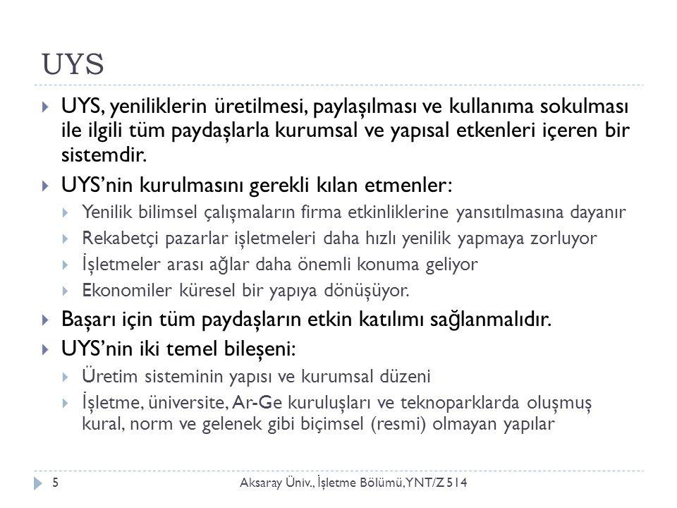 UYS Aksaray Üniv., İ şletme Bölümü, YNT/Z 5145  UYS, yeniliklerin üretilmesi, paylaşılması ve kullanıma sokulması ile ilgili tüm paydaşlarla kurumsal