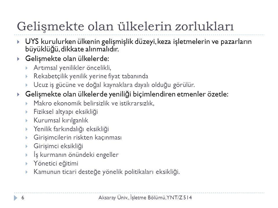Gelişmekte olan ülkelerin zorlukları Aksaray Üniv., İ şletme Bölümü, YNT/Z 5146  UYS kurulurken ülkenin gelişmişlik düzeyi, keza işletmelerin ve paza