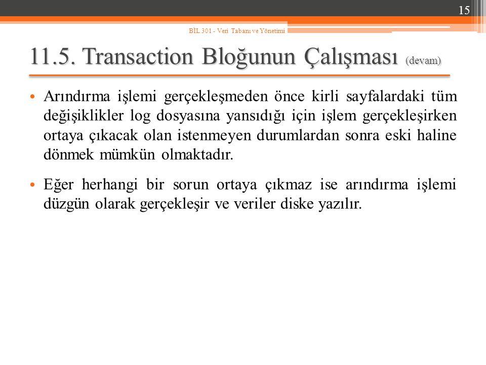 11.5. Transaction Bloğunun Çalışması (devam) Arındırma işlemi gerçekleşmeden önce kirli sayfalardaki tüm değişiklikler log dosyasına yansıdığı için iş