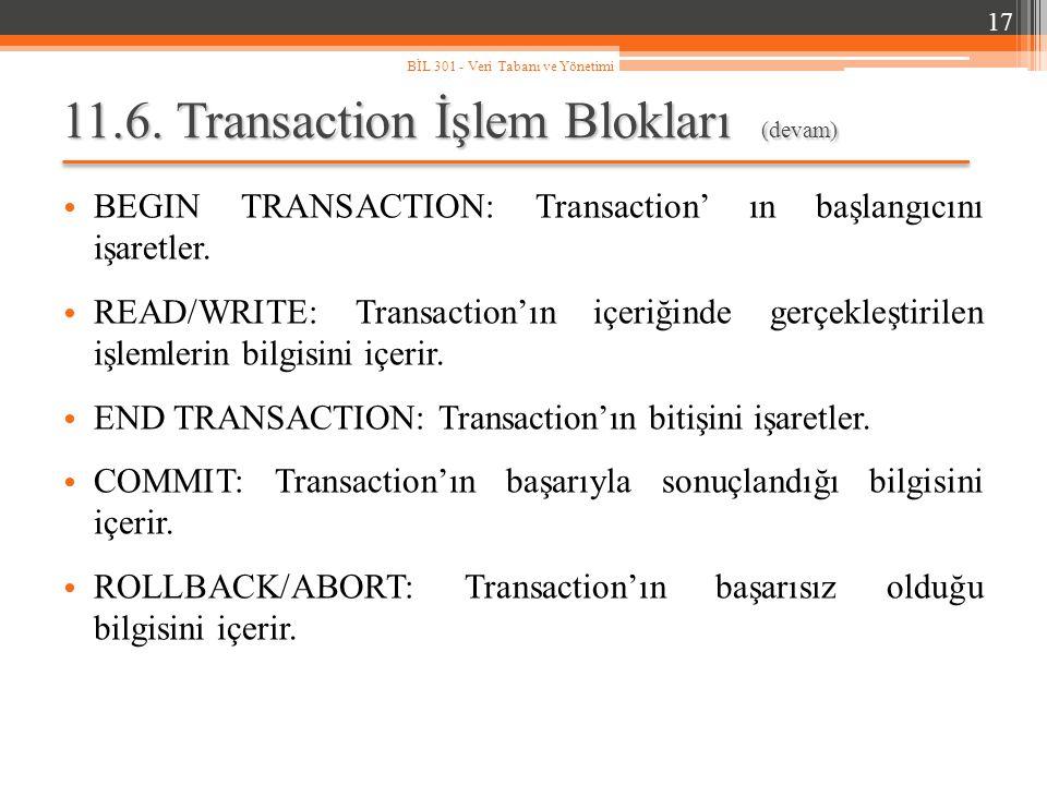 11.6. Transaction İşlem Blokları (devam) BEGIN TRANSACTION: Transaction' ın başlangıcını işaretler. READ/WRITE: Transaction'ın içeriğinde gerçekleştir