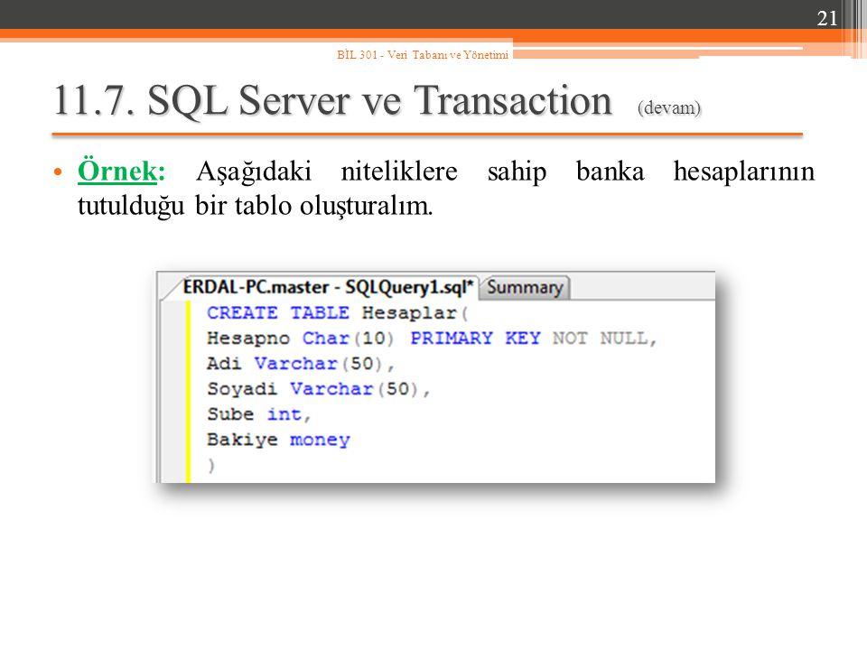 11.7. SQL Server ve Transaction (devam) Örnek: Aşağıdaki niteliklere sahip banka hesaplarının tutulduğu bir tablo oluşturalım. 21 BİL 301 - Veri Taban