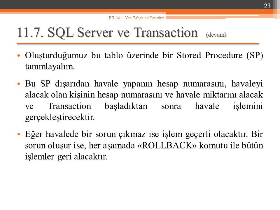 11.7. SQL Server ve Transaction (devam) Oluşturduğumuz bu tablo üzerinde bir Stored Procedure (SP) tanımlayalım. Bu SP dışarıdan havale yapanın hesap