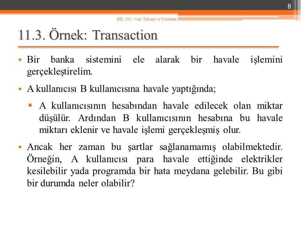 11.3. Örnek: Transaction Bir banka sistemini ele alarak bir havale işlemini gerçekleştirelim. A kullanıcısı B kullanıcısına havale yaptığında;  A kul