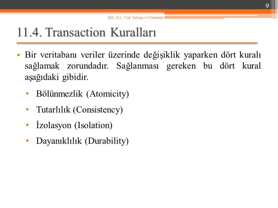 11.4.1.Bölünmezlik (Atomicity) Bir transaction bloğu asla yarım kalamaz.