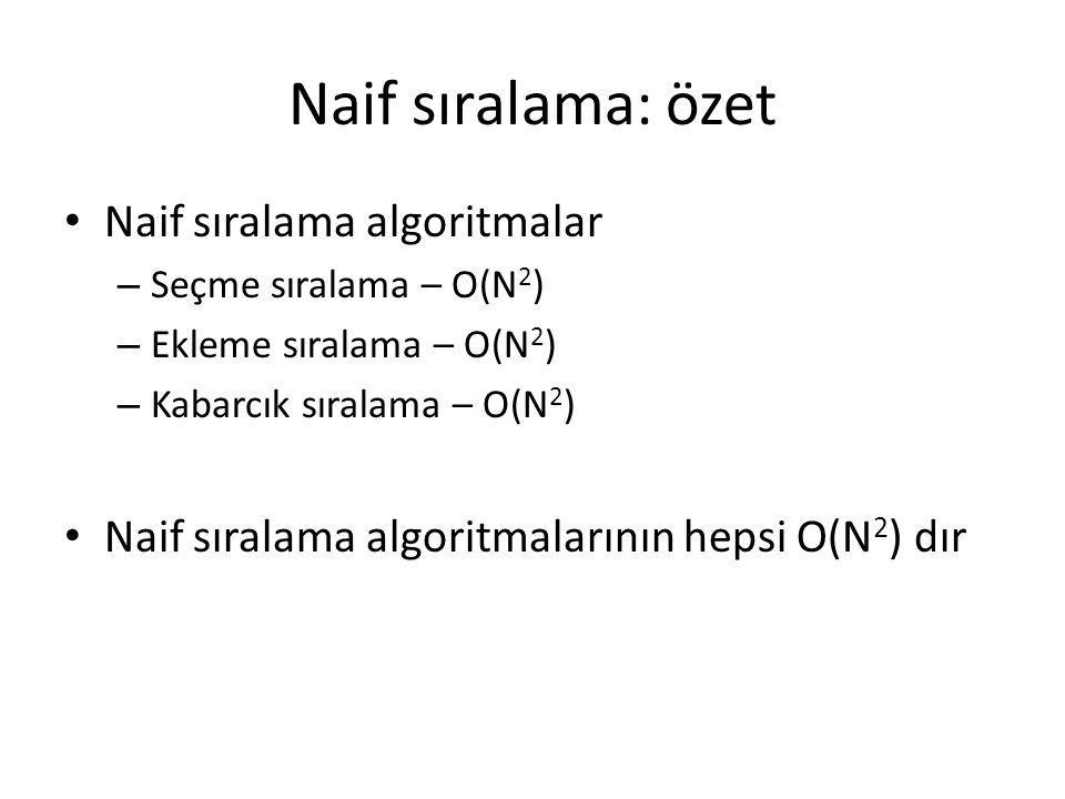 Naif sıralama: özet Naif sıralama algoritmalar – Seçme sıralama – O(N 2 ) – Ekleme sıralama – O(N 2 ) – Kabarcık sıralama – O(N 2 ) Naif sıralama algo