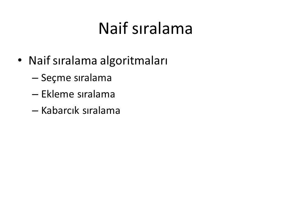 Naif sıralama Naif sıralama algoritmaları – Seçme sıralama – Ekleme sıralama – Kabarcık sıralama