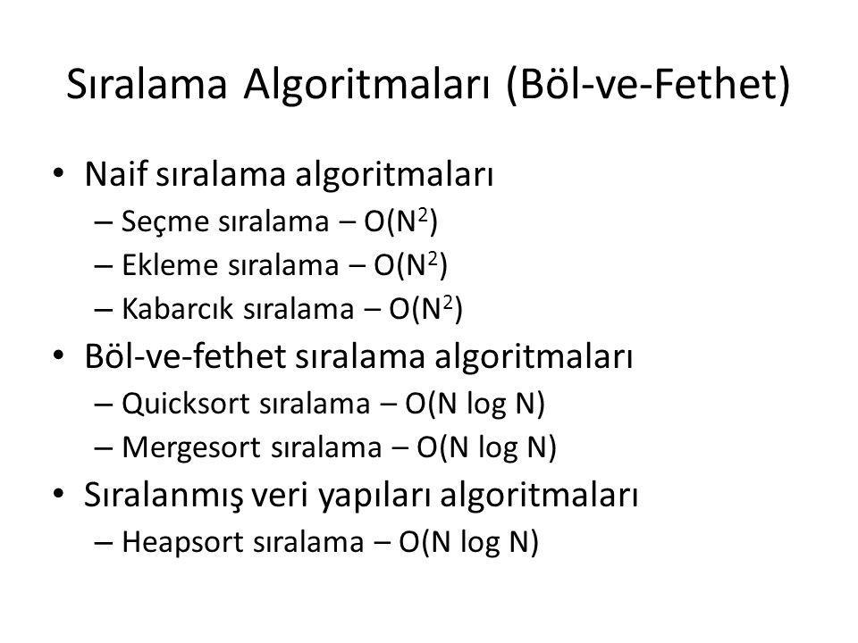 Sıralama Algoritmaları (Böl-ve-Fethet) Naif sıralama algoritmaları – Seçme sıralama – O(N 2 ) – Ekleme sıralama – O(N 2 ) – Kabarcık sıralama – O(N 2