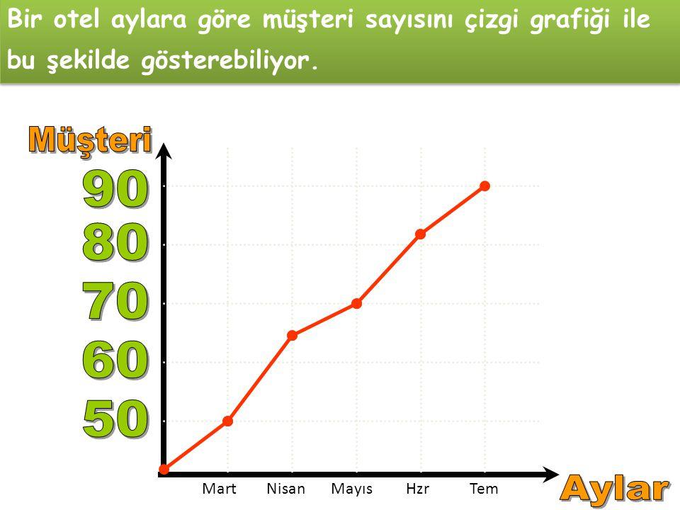 Bir otel aylara göre müşteri sayısını çizgi grafiği ile bu şekilde gösterebiliyor.