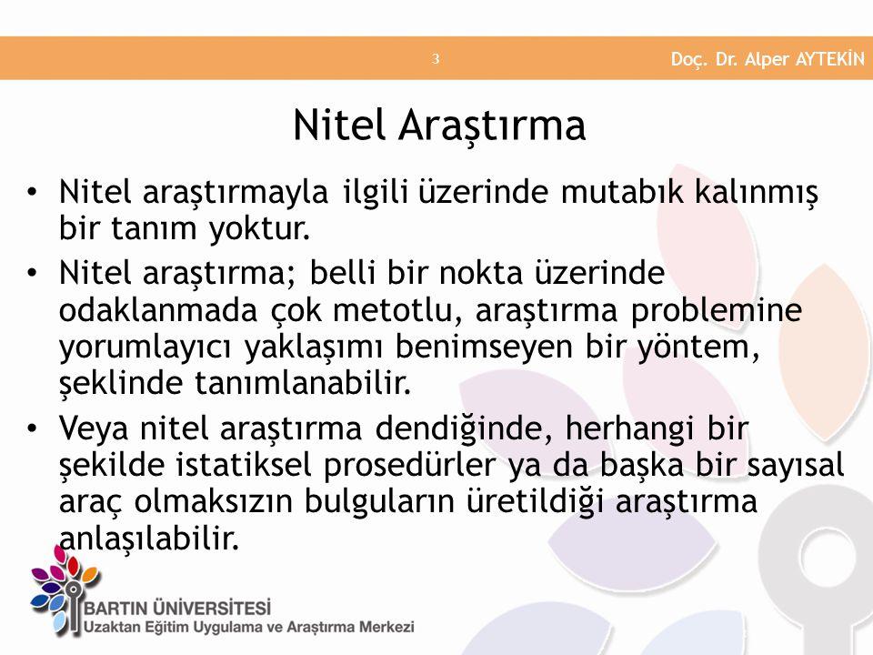 Nitel araştırmayla ilgili üzerinde mutabık kalınmış bir tanım yoktur. Nitel araştırma; belli bir nokta üzerinde odaklanmada çok metotlu, araştırma pro