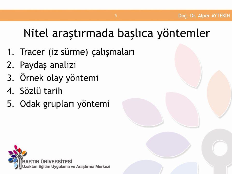 1.Tracer (iz sürme) çalışmaları 2.Paydaş analizi 3.Örnek olay yöntemi 4.Sözlü tarih 5.Odak grupları yöntemi Nitel araştırmada başlıca yöntemler Doç. D