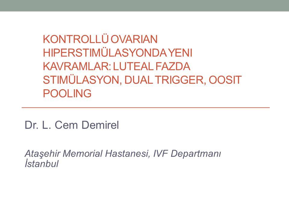KONTROLLÜ OVARIAN HIPERSTIMÜLASYONDA YENI KAVRAMLAR: LUTEAL FAZDA STIMÜLASYON, DUAL TRIGGER, OOSIT POOLING Dr. L. Cem Demirel Ataşehir Memorial Hastan