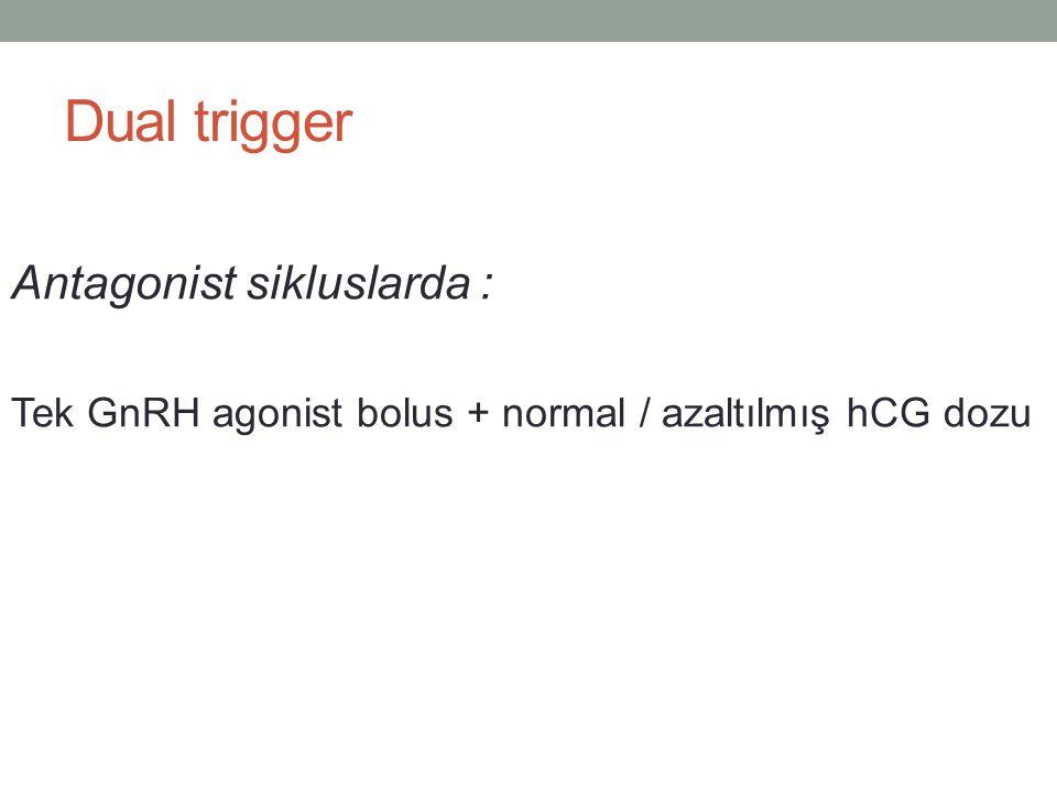 Dual trigger Antagonist sikluslarda : Tek GnRH agonist bolus + normal / azaltılmış hCG dozu