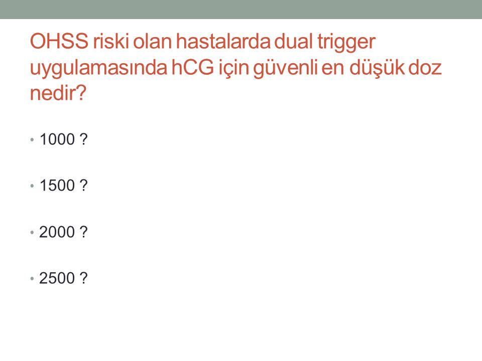 OHSS riski olan hastalarda dual trigger uygulamasında hCG için güvenli en düşük doz nedir? 1000 ? 1500 ? 2000 ? 2500 ?