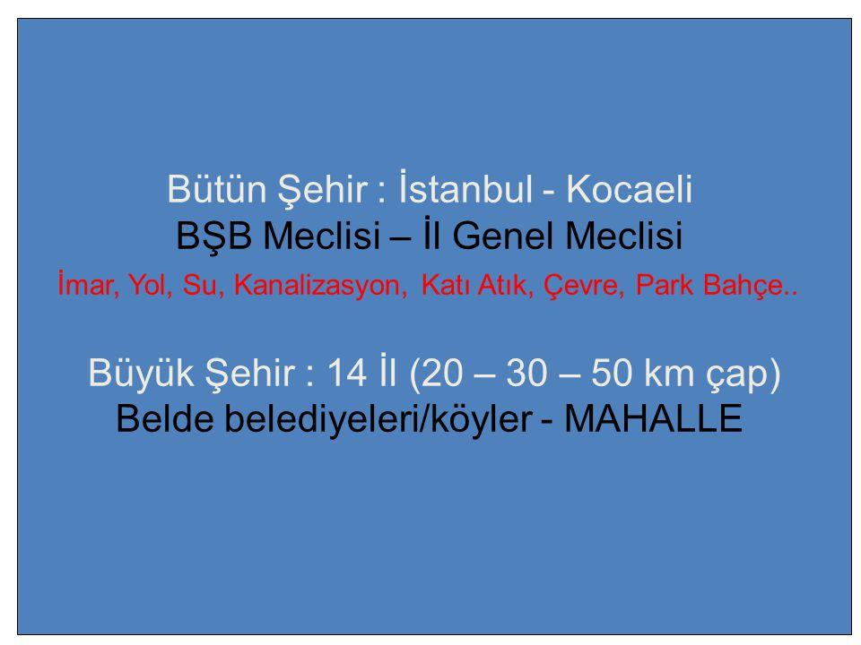 Bütün Şehir : İstanbul - Kocaeli BŞB Meclisi – İl Genel Meclisi İmar, Yol, Su, Kanalizasyon, Katı Atık, Çevre, Park Bahçe..