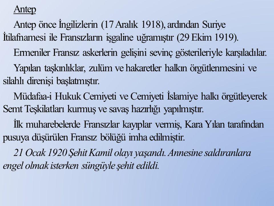 Antep Şahin Bey'in komutanlığında Fransızlarla uzun süre mücadele etmiş onun şehit olmasından sonra Kılıç Ali Bey bölgeye gönderilmiştir.