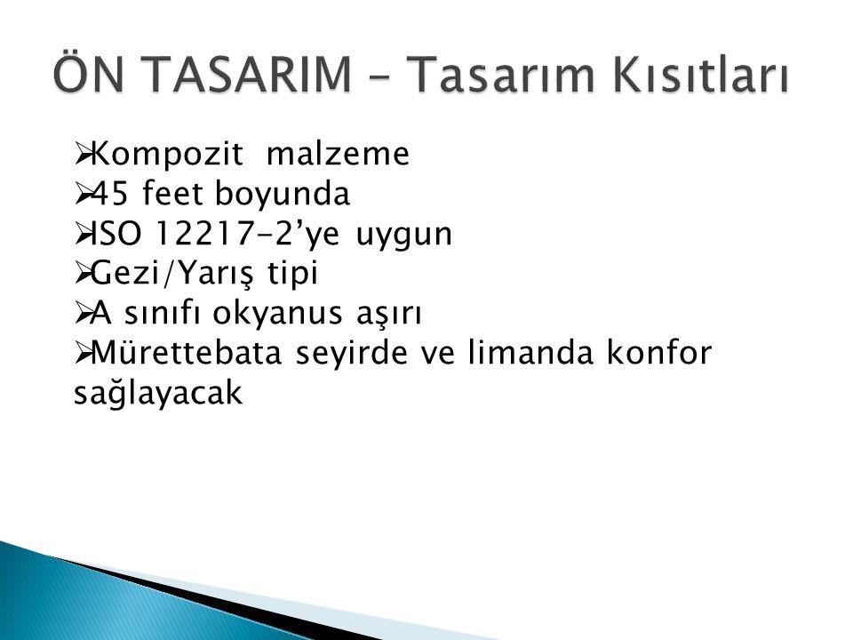  Kompozit malzeme  45 feet boyunda  ISO 12217-2'ye uygun  Gezi/Yarış tipi  A sınıfı okyanus aşırı  Mürettebata seyirde ve limanda konfor sağlaya