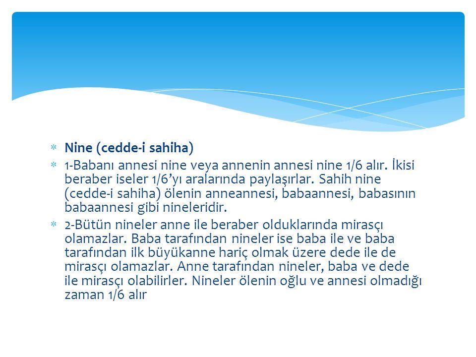  Nine (cedde-i sahiha)  1-Babanı annesi nine veya annenin annesi nine 1/6 alır.