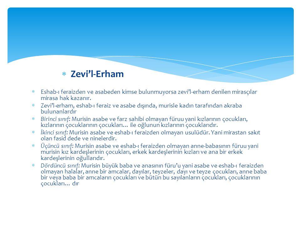  Eshab-ı feraizden ve asabeden kimse bulunmuyorsa zevi'l-erham denilen mirasçılar mirasa hak kazanır.