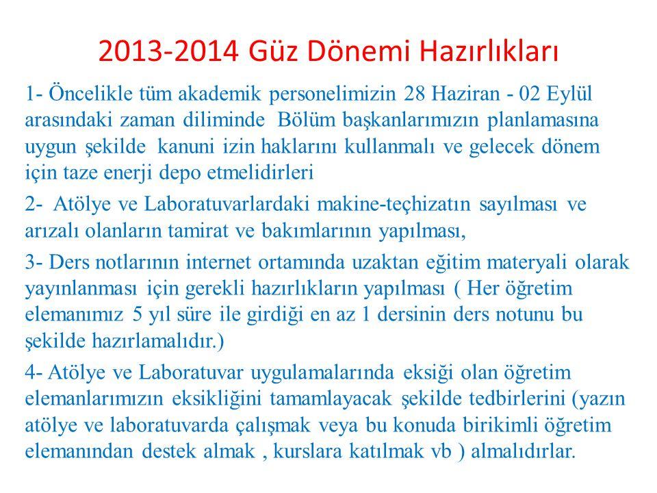 2013-2014 Güz Dönemi Hazırlıkları 1- Öncelikle tüm akademik personelimizin 28 Haziran - 02 Eylül arasındaki zaman diliminde Bölüm başkanlarımızın plan
