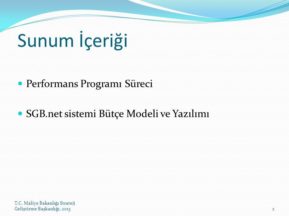 T.C. Maliye Bakanlığı Strateji Geliştirme Başkanlığı, 20132 Sunum İçeriği Performans Programı Süreci SGB.net sistemi Bütçe Modeli ve Yazılımı