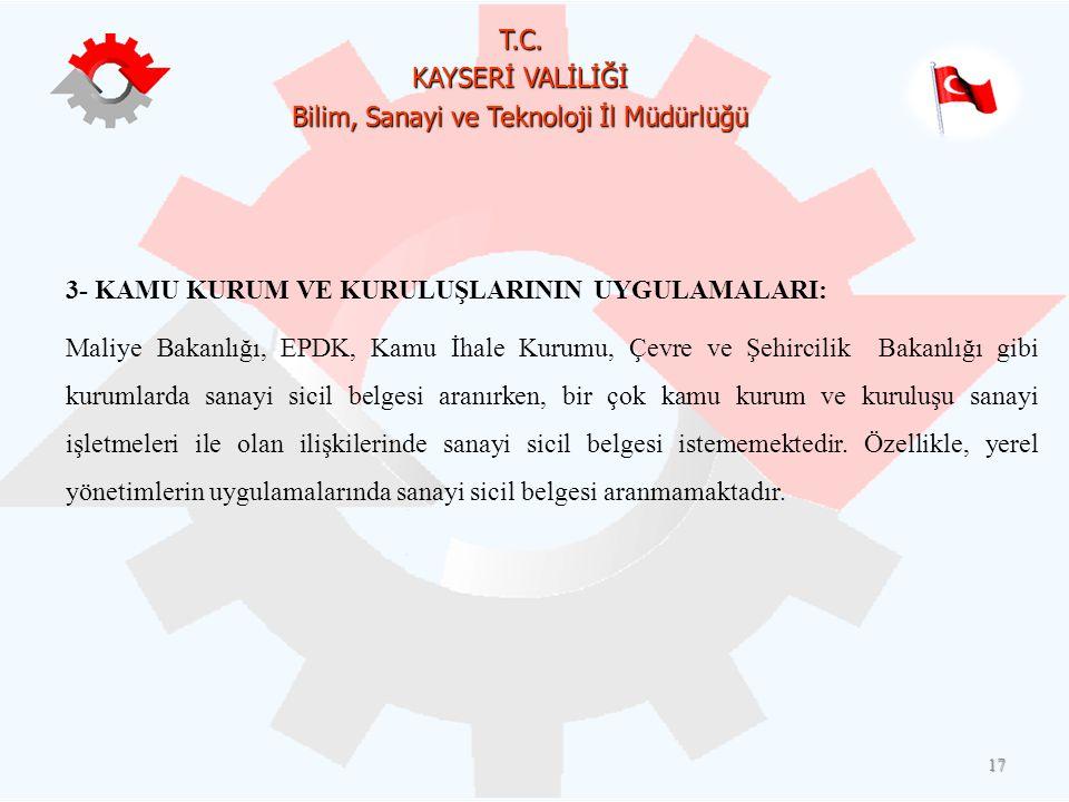 T.C. KAYSERİ VALİLİĞİ Bilim, Sanayi ve Teknoloji İl Müdürlüğü 17 3- KAMU KURUM VE KURULUŞLARININ UYGULAMALARI: Maliye Bakanlığı, EPDK, Kamu İhale Kuru