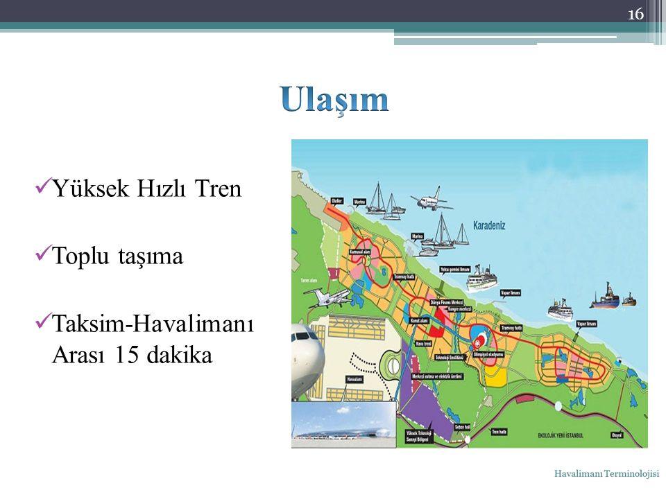 Yüksek Hızlı Tren Toplu taşıma Taksim-Havalimanı Arası 15 dakika 16