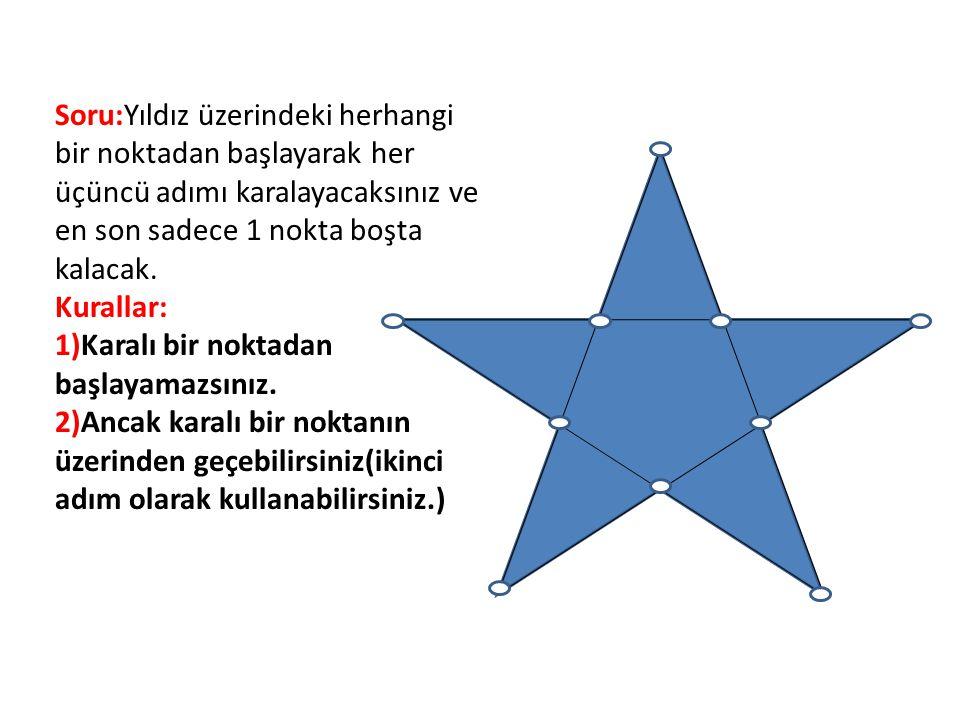 Soru:Yıldız üzerindeki herhangi bir noktadan başlayarak her üçüncü adımı karalayacaksınız ve en son sadece 1 nokta boşta kalacak. Kurallar: 1)Karalı b
