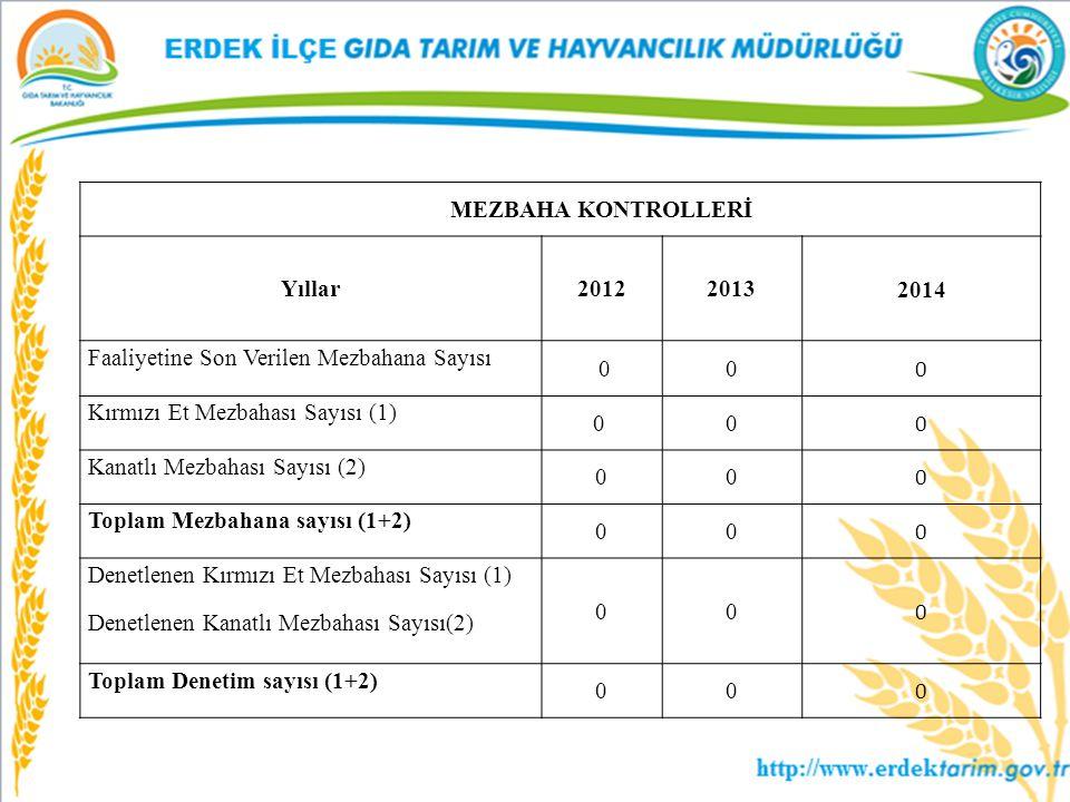 MEZBAHA KONTROLLERİ Yıllar20122013 2014 Faaliyetine Son Verilen Mezbahana Sayısı 00 0 Kırmızı Et Mezbahası Sayısı (1) 0 0 0 Kanatlı Mezbahası Sayısı (