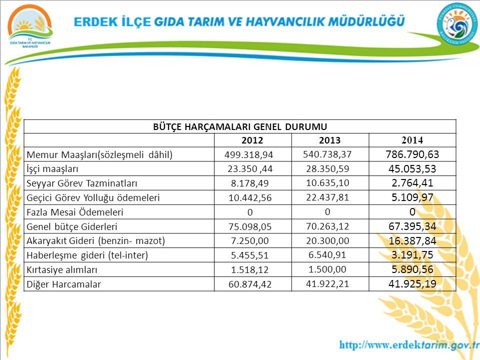 BÜTÇE HARÇAMALARI GENEL DURUMU 2012 2013 2014 Memur Maaşları(sözleşmeli dâhil)499.318,94 540.738,37 786.790,63 İşçi maaşları23.350,44 28.350,59 45.053